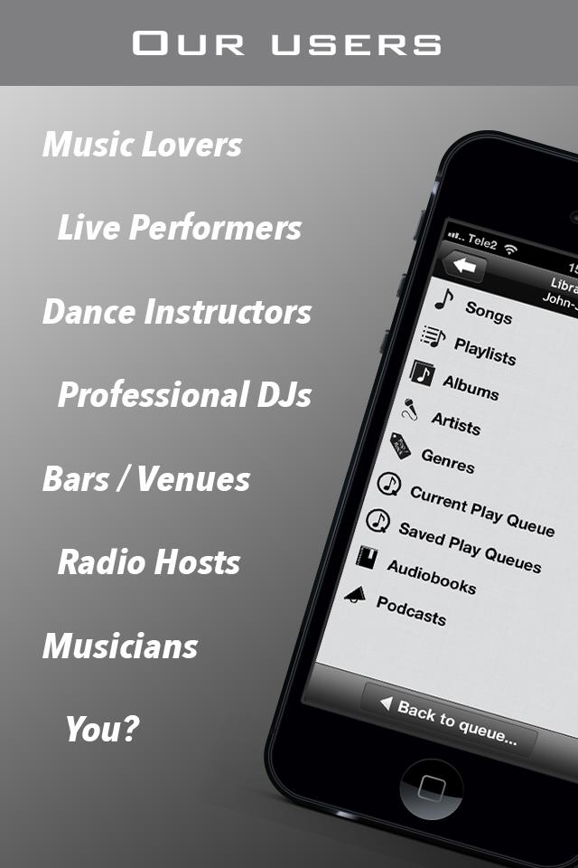PlayMyQ HD - Music Player • Remote Control • Jukebox